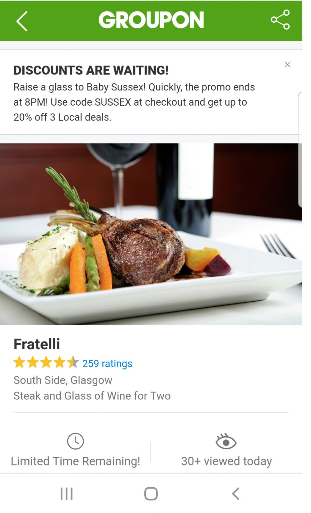 Linking to Fratelli Groupon Page