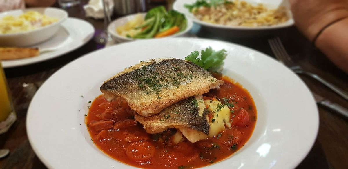 Sea Bass at The Bistro.